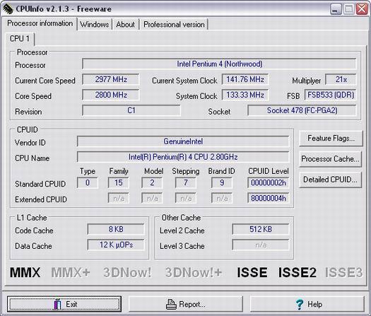 PC Analyser CPUInfo 2.1.3 screenshot (resized)