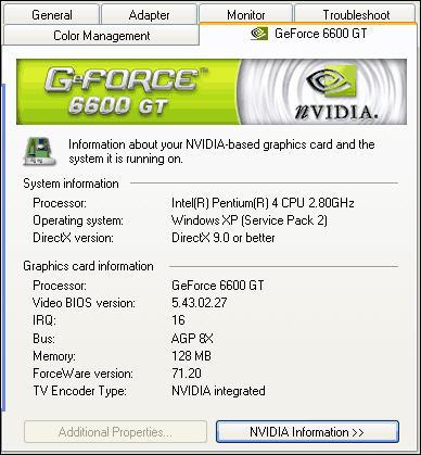 ForceWare 71.20 screenshot