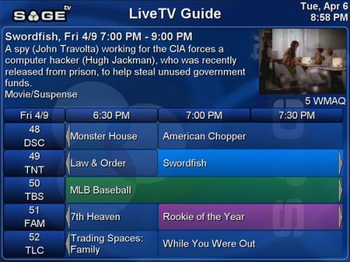 SageTV program guide