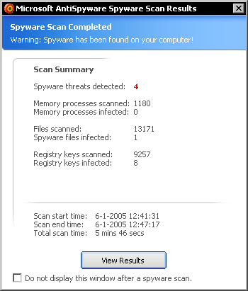 Microsoft AntiSpyware - scan results
