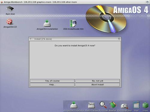 AmigaOS4 installatiescherm