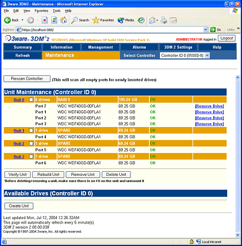 SATA RAID 2005 review: 3ware Escalade 9500S-8 3DM screenshot 1