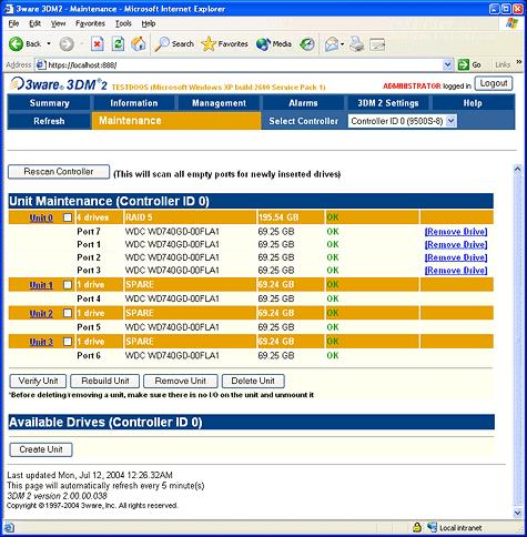 SATA RAID 2005 review: 3ware Escalade 9500S-8 3DM screenshot 1