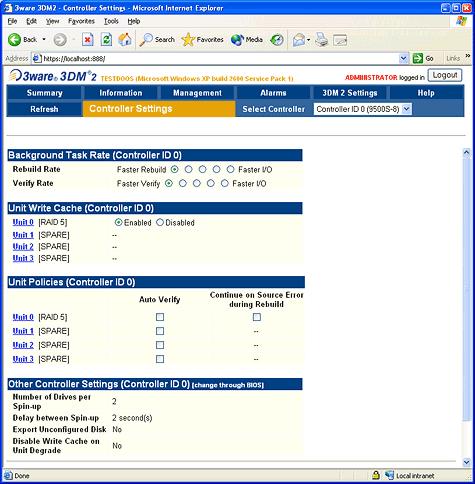 SATA RAID 2005 review: 3ware Escalade 9500S-8 3DM screenshot 2