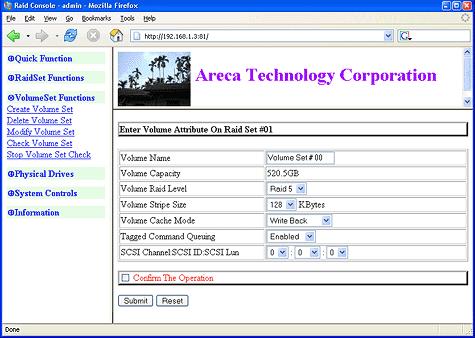 SATA RAID 2005 review: Areca ARC-1120 screenshot 1