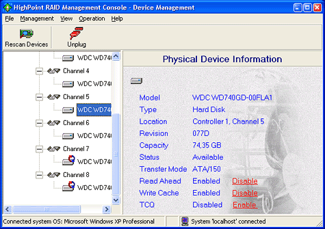 SATA RAID 2005 review: HighPoint RocketRAId 1820A screenshot 1