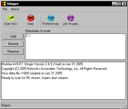McAfee Stinger 2.4.9.2 screenshot
