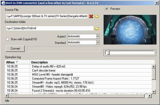 DivxToDVD 0.4.5.74 screenshot (resized)