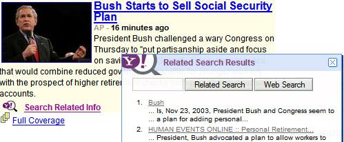 Yahoo Y!Q search