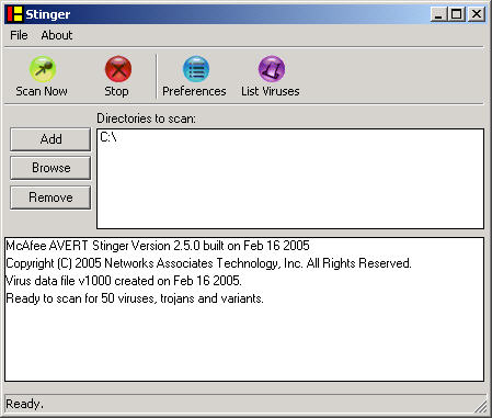 McAfee Stinger 2.5.0 screenshot