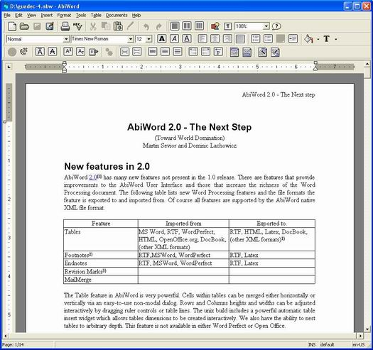 AbiWord 2.0 Windows screenshot (resized)