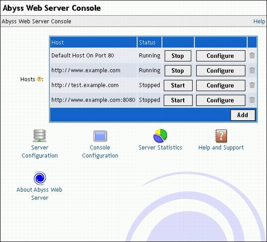 Abyss Web Server 2.0 - server console screenshot (resized)