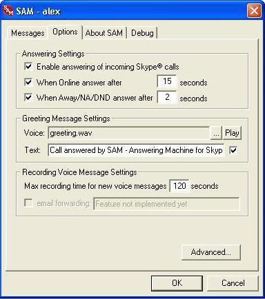 Skype Answering Machine - Options Dialog