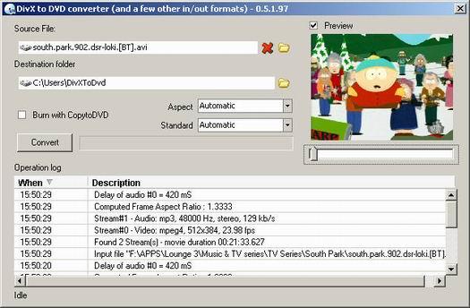 DivxToDVD 0.5.1.97 screenshot (resized)
