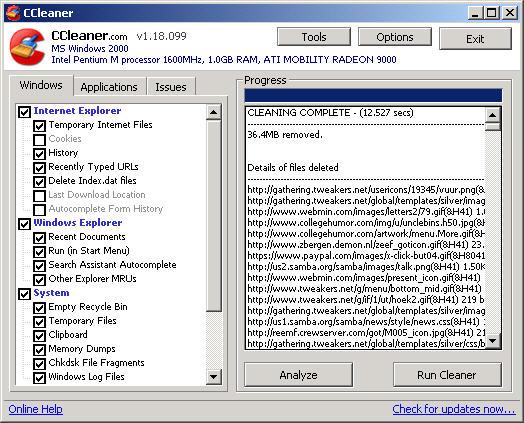 CCleaner 1.18.099 screenie