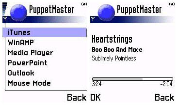 PuppetMaster - Main Menu and various iTunes screens on a Nokia 3650