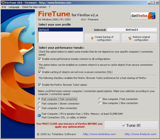 FireTune 0.6 screenshot (resized)