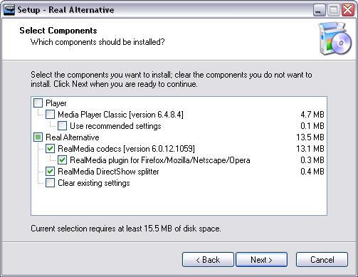 Real Alternative 1.34 installatie screen