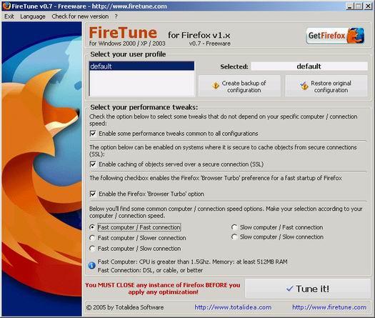 FireTune 0.7 screenshot (resized)