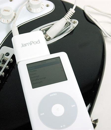 JamPod tussen iPod en elektrische gitaar