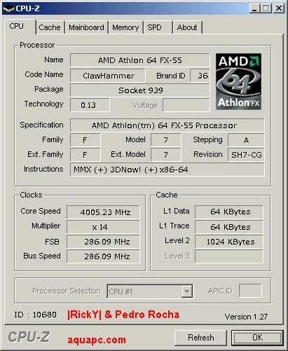 CPU-Z: FX55@4GHz