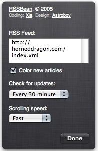 RSSBean 1.1 - instellingen