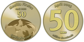 Mozilla Firefox munten vanwege 50 miljoen downloads