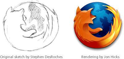 Mozilla Firefox logo, schets & render