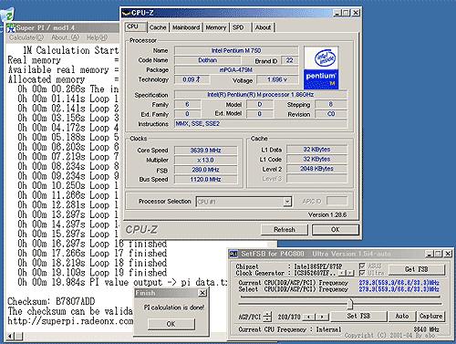3,6GHz Pentium M SuperPi