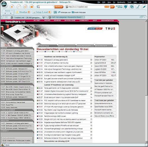 Tweakers.net in Netscape 8.0 (klein)
