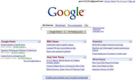 Persoonlijke Google-pagina