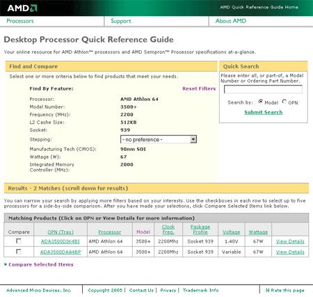 AMD Compare website