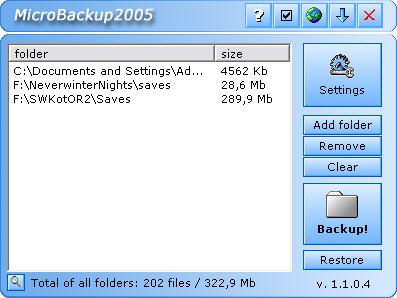 MicroBackup2005 screenshot