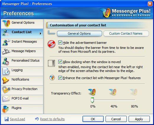 Messenger Plus! preferences screenshot