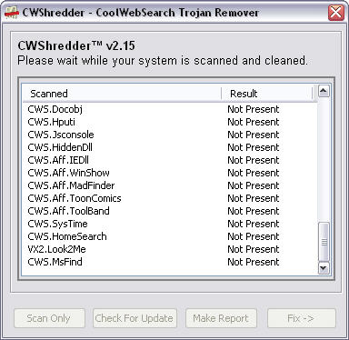 CWShredder 2.15 screenshot