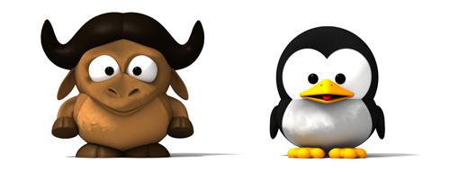 3D baby GNU en baby Tux