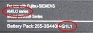 Stickertje met typenummer Fujitsu-Siemens-accu