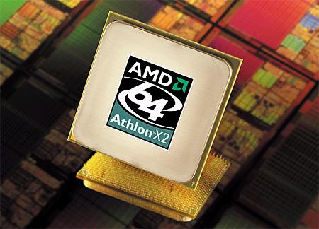 AMD Athlon 64 X2 processor persfoto met wafer achtergrond