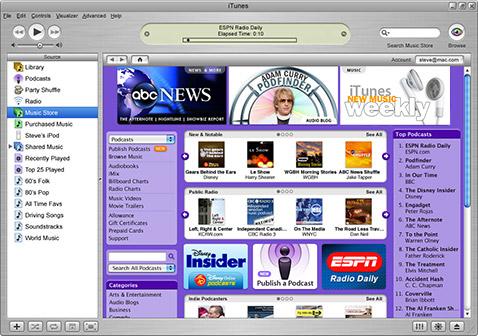 iTunes screenshot podcasts