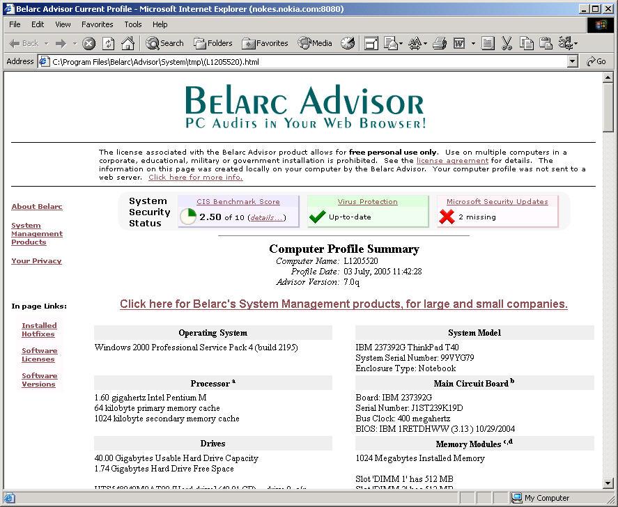 Software-update: Belarc Advisor 7 0q - Computer - Downloads