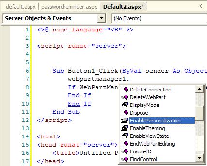 Visual Studio 2003 screenshot