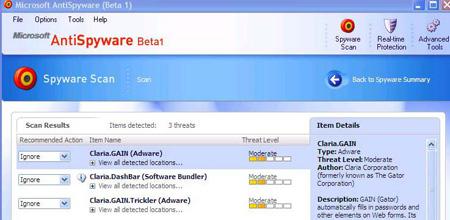 Microsoft Antispyware en Claria (klein)