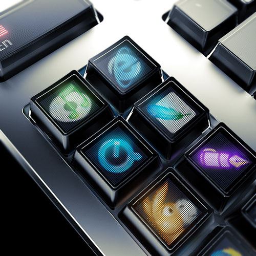 Optimus keyboard - close-up OLED keys