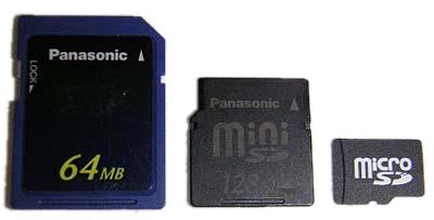 SD, Mini-SD en microSD