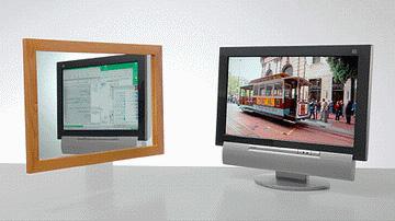 Dubbel-beeld-Sharp: links een spiegel, rechts het scherm