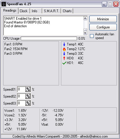 SpeedFan 4.25 screenshot