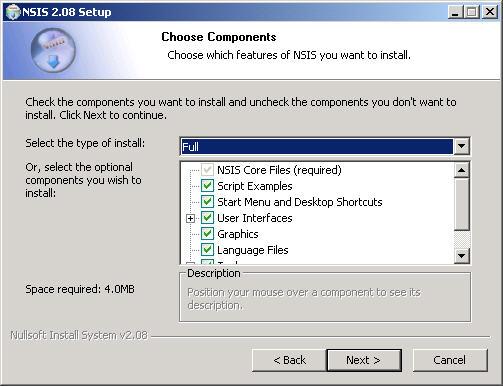 NSIS 2.08 setup screenshot