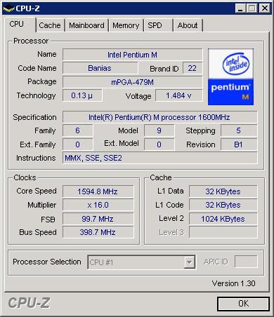 CPU-Z 1.30 screenshot