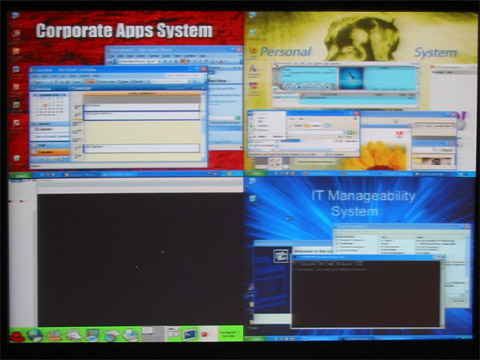 Virtualisatie: screenshot van pc die Linux en driemaal Windows draait