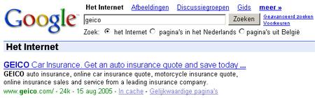 Google -- Geico-zoekopdracht